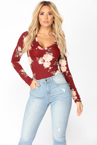 Do It My Way Floral Top - Burgundy