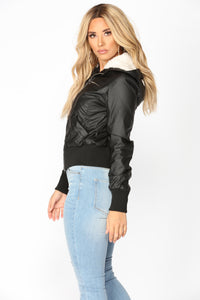 City Sky Faux Leather Jacket - Black