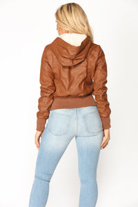 City Sky Faux Leather Jacket - Camel