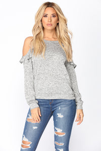 Yvette Cold Shoulder Top - Grey Angle 1