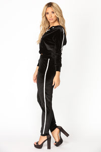 Always Trending Velour Lounge Top - Black
