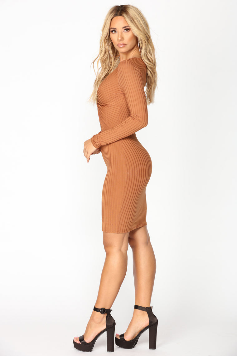 Twisting The Night Away Midi Dress - Camel