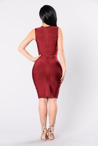 Tirane Bandage Dress - Burgundy