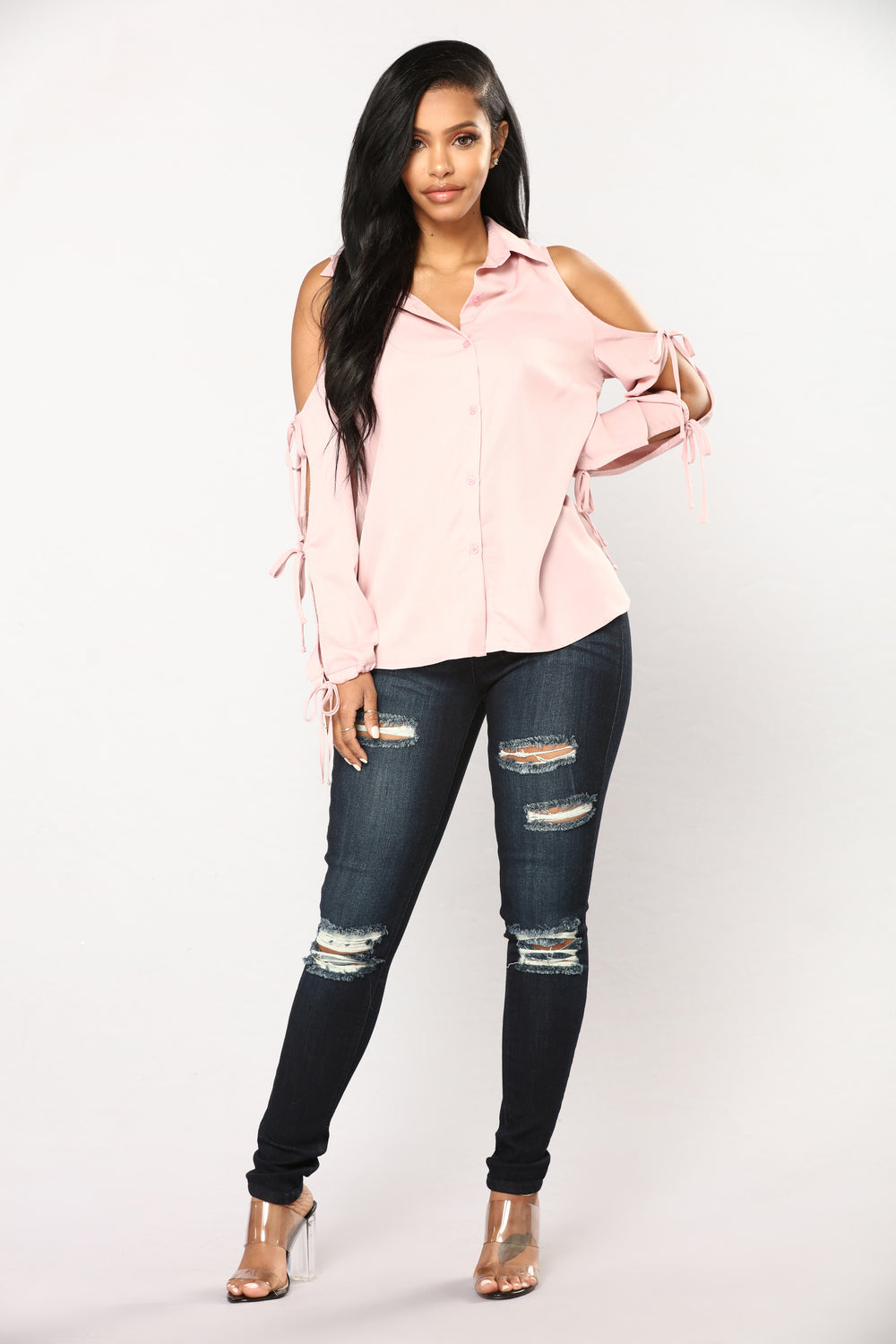 Lizbeth Button Down Top - Pink