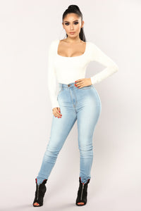 Anything But Square Long Sleeve Bodysuit - Ivory Angle 4