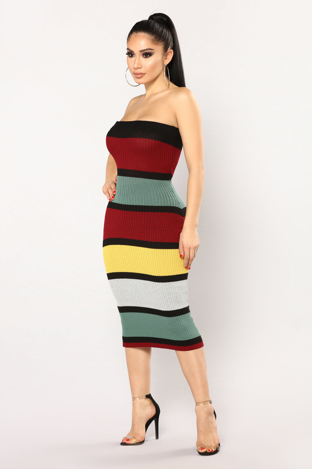 With Out You Stripe Dress - Mustard