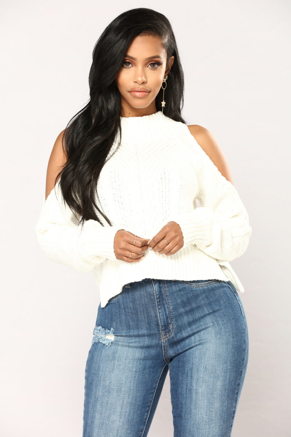 Touchin' Lovin Sweater -  White