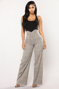 Clueless Plaid Woven Pants - Brown
