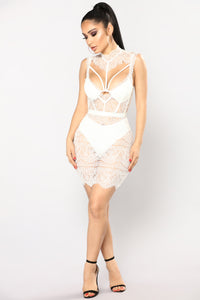 Without A Trace Lace Dress - White Angle 2