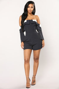 Well Qualified Striped Romper - Navy