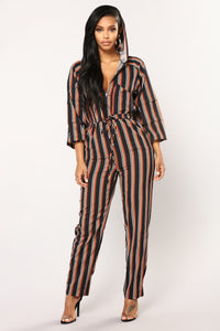 Keep Singing Striped Jumpsuit - Navy Stripe