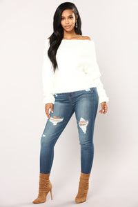 Esther Off The Shoulder Sweater - Ivory