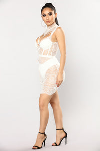 Without A Trace Lace Dress - White Angle 3