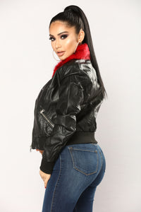 Leah Bomber Jacket - Black/Red
