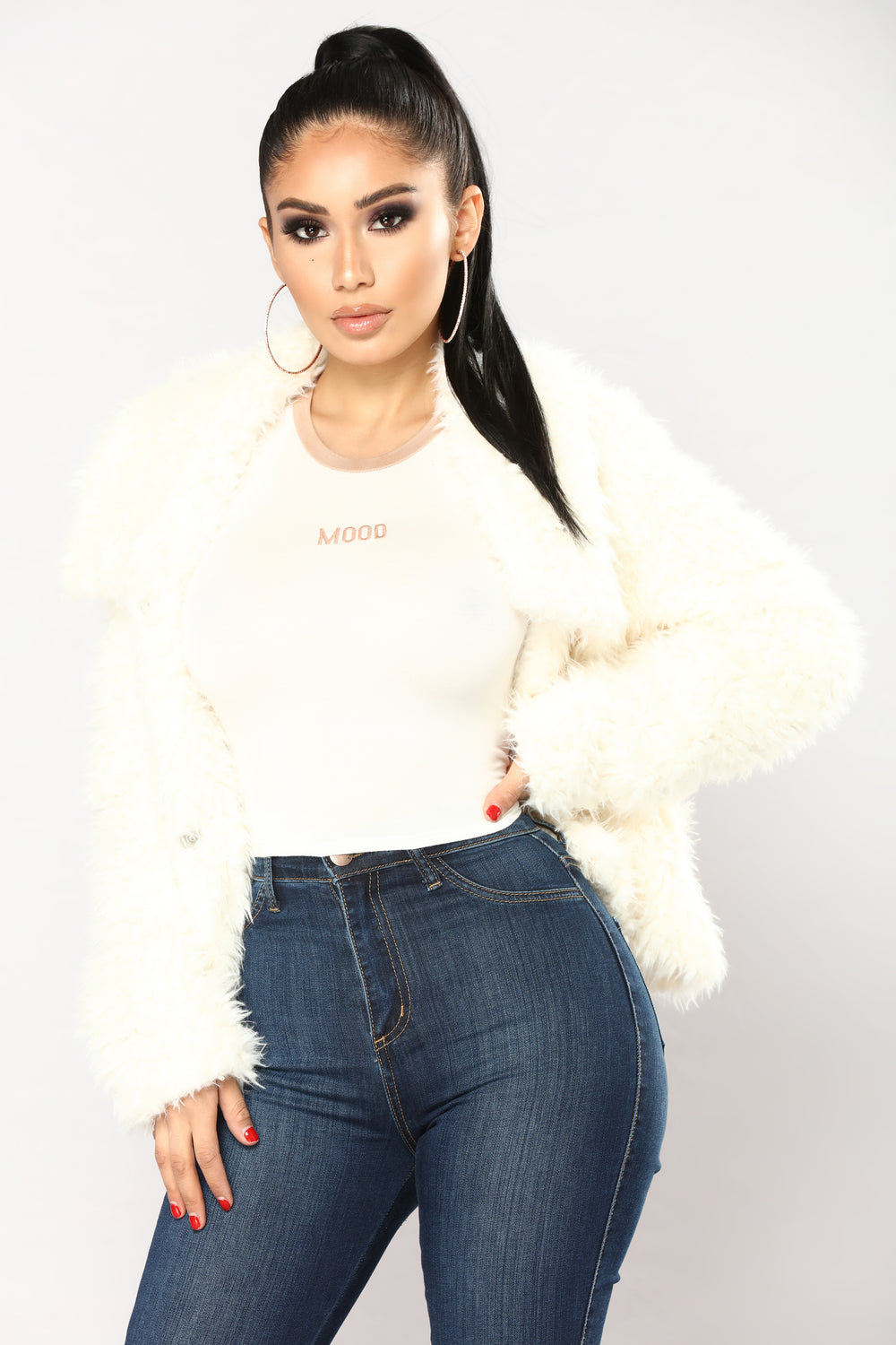 Myah Faux Fur Jacket - Ivory