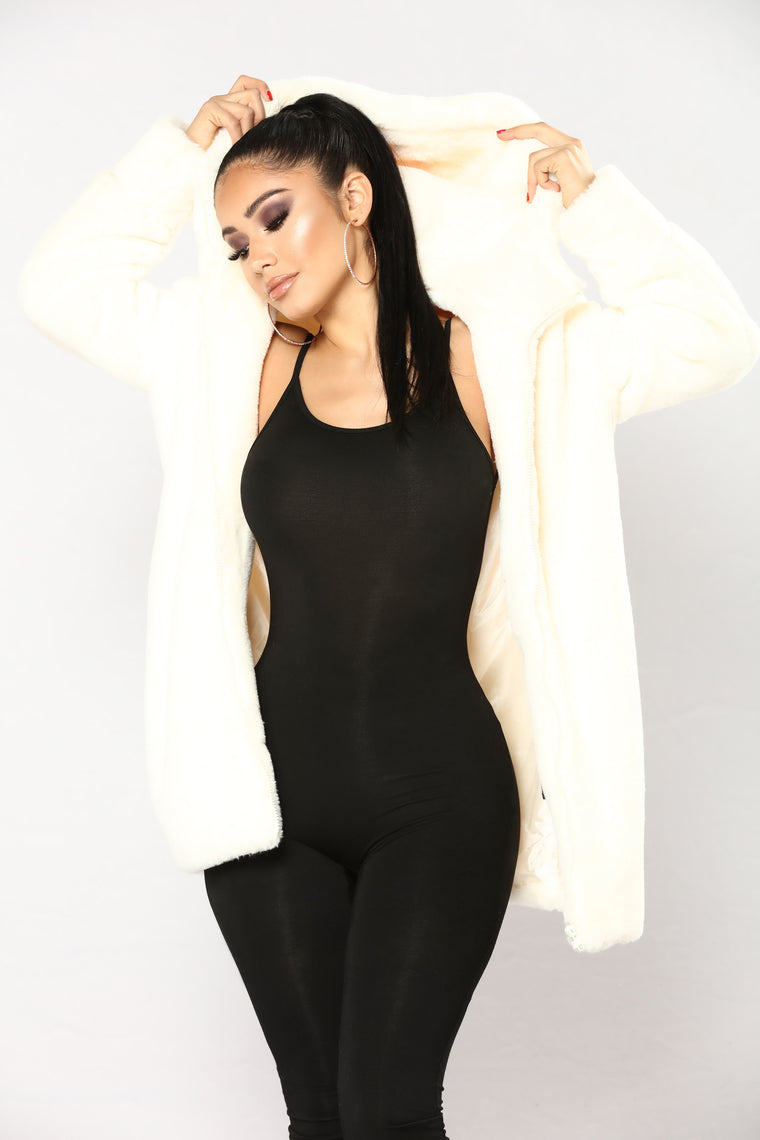 Christal Faux Fur Hooded Jacket - Ivory