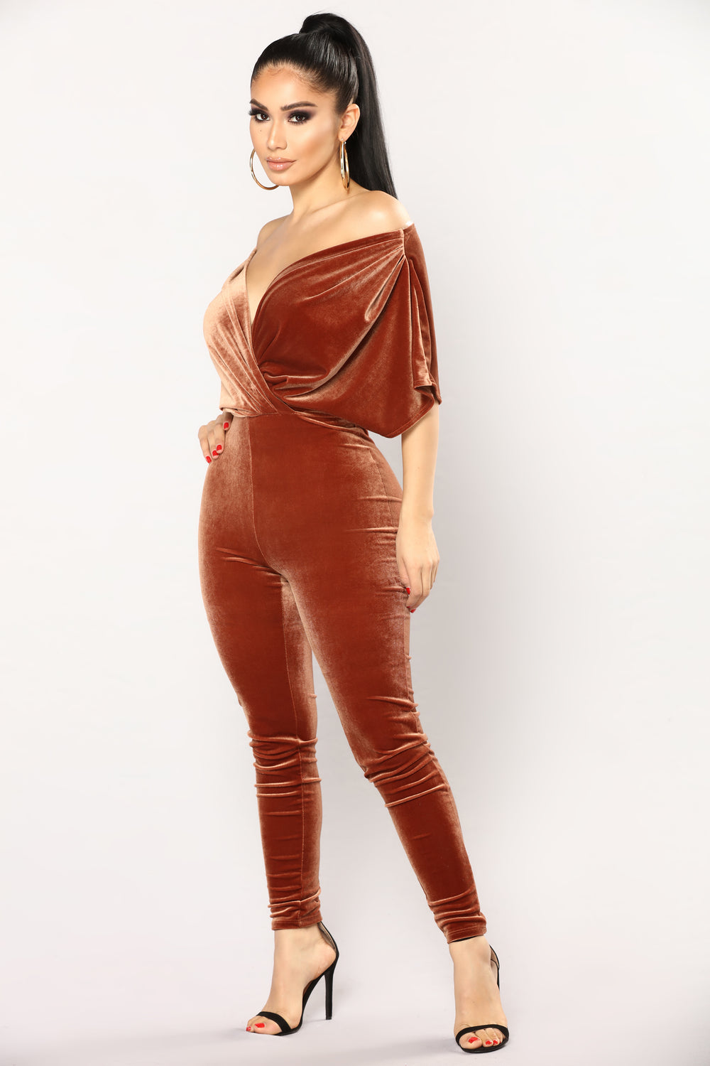 Angel Velvet Jumpsuit - Rust