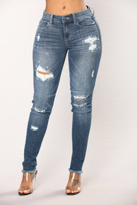 Work From Home Pearl Skinny Jeans - Dark Denim
