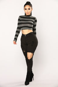 Steady Switching Stripe Top - Grey/Black Angle 2
