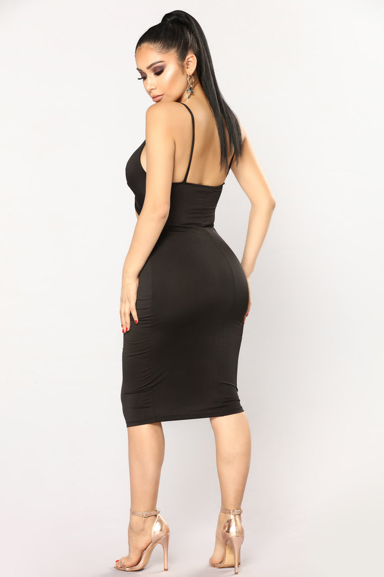 Knot So Into You Satin Dress - Black