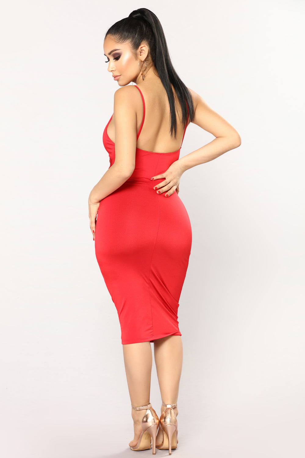 Knot So Into You Satin Dress - Red