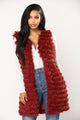 Like Magic Faux Fur Vest - Burgundy