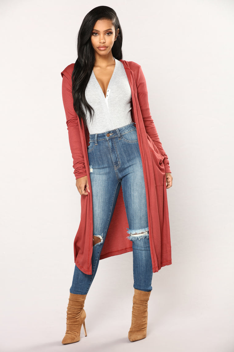 Sunday Kind Of Love Duster Jacket - Rust
