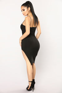 Azaria Asymmetrical Dress - Black Angle 4