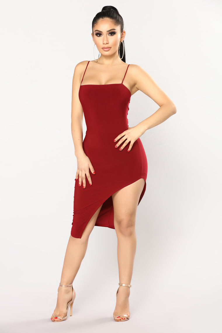 Azaria Asymmetrical Dress - Burgundy