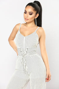 See Ya Never Corset Jumpsuit - White/Black