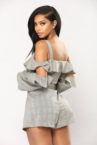 Got Me Good Ruffle Romper - Grey