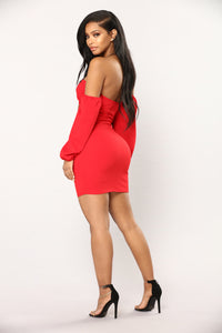 Say My Name Off The Shoulder Dress - Red