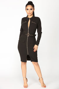 Kassandra Belt Dress - Black