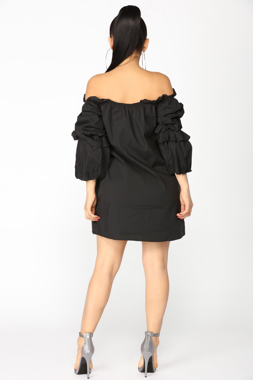 Huff And Puff Off Shoulder Dress - Black