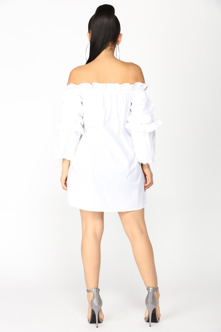 Huff And Puff Off Shoulder Dress - White
