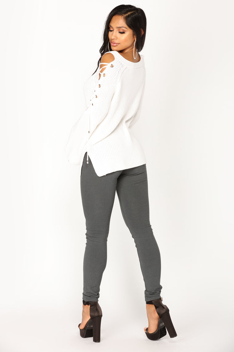 No Explanation Lace Up Sweater - Ivory