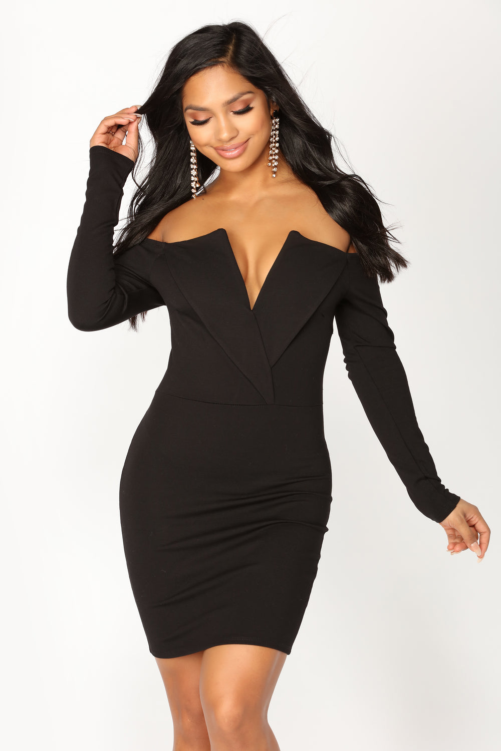 State The Obvious Off Shoulder Dress - Black