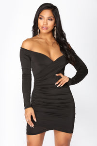 Keara Off Shoulder Dress - Black