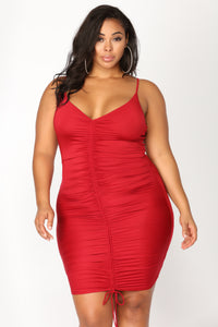 Shanghai Ruched Dress - Burgundy Angle 8