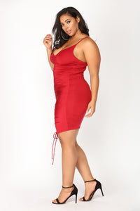 Shanghai Ruched Dress - Burgundy Angle 11
