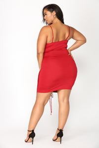 Shanghai Ruched Dress - Burgundy Angle 9