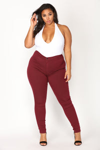 Super High Waist Denim Skinnies - Burgundy Angle 7