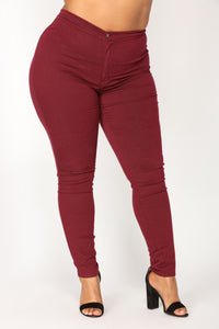 Super High Waist Denim Skinnies - Burgundy Angle 8
