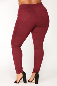 Super High Waist Denim Skinnies - Burgundy Angle 11