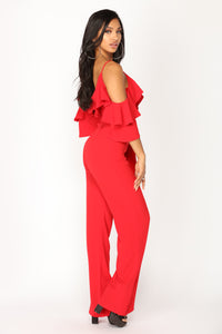 Celeste Flounce Jumpsuit - Red