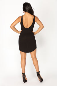 Allegra Ribbed Dress - Black