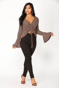 Viviette Long Sleeve Top - Brown