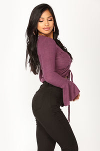 Viviette Long Sleeve Top - Plum