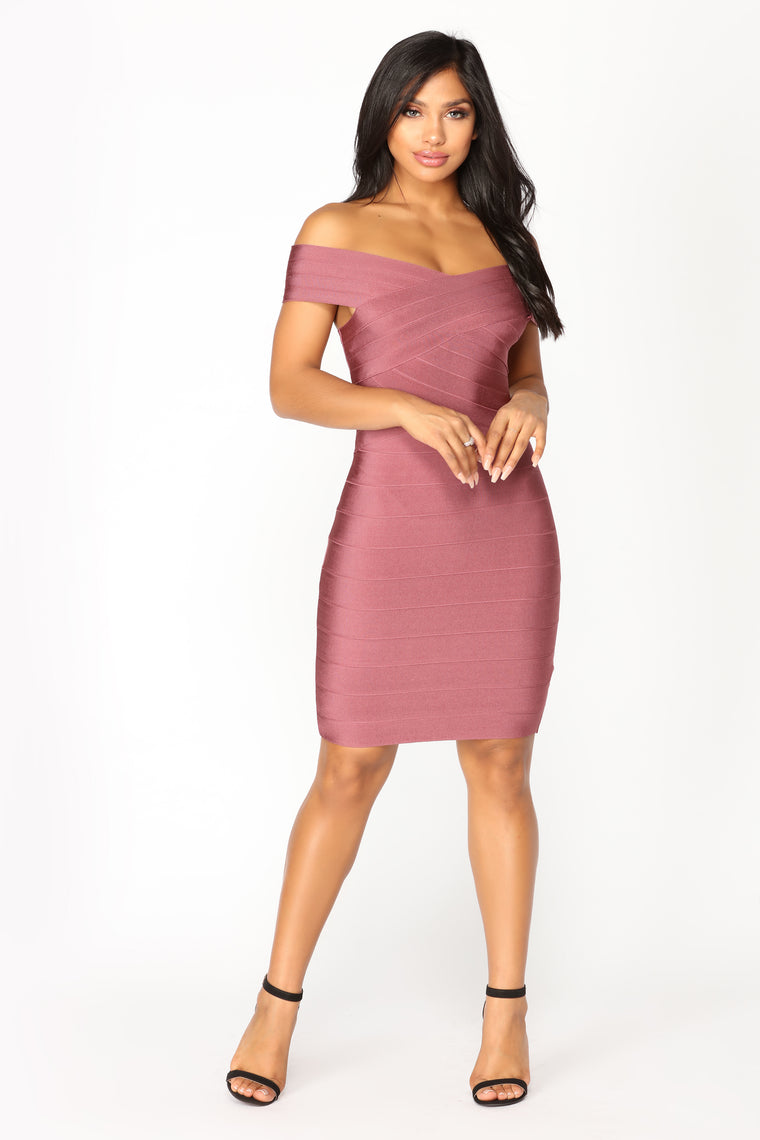 Cross My Body Dress - Rose Brown