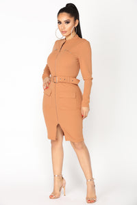 Kassandra Belt Dress - Dark Tan